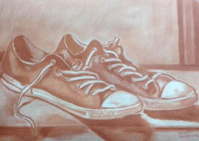"""Zapatillas"" Rodri. Sanguina sobre papel. Dibujo adultos"