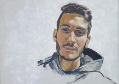 Raúl, técnica mixta sobre lienzo